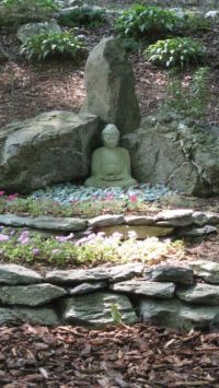 Meditative Garden... stake rocks/slate to add levels to a ...