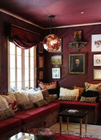 Bohemian Style living room with Garnet Red upholstery and