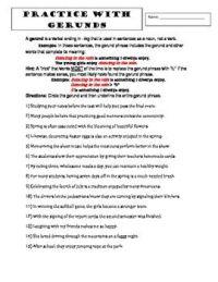 8th Grade Grammar: GERUNDS Practice Worksheets (Common ...