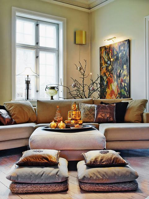 Asian style - seating with cushions Like the floor pillowsBBC - poufs for living room