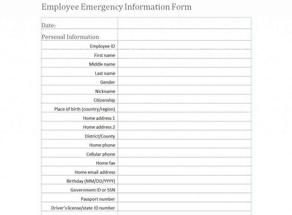 Employee Emergency Information Form Template Hardsell - company forms templates