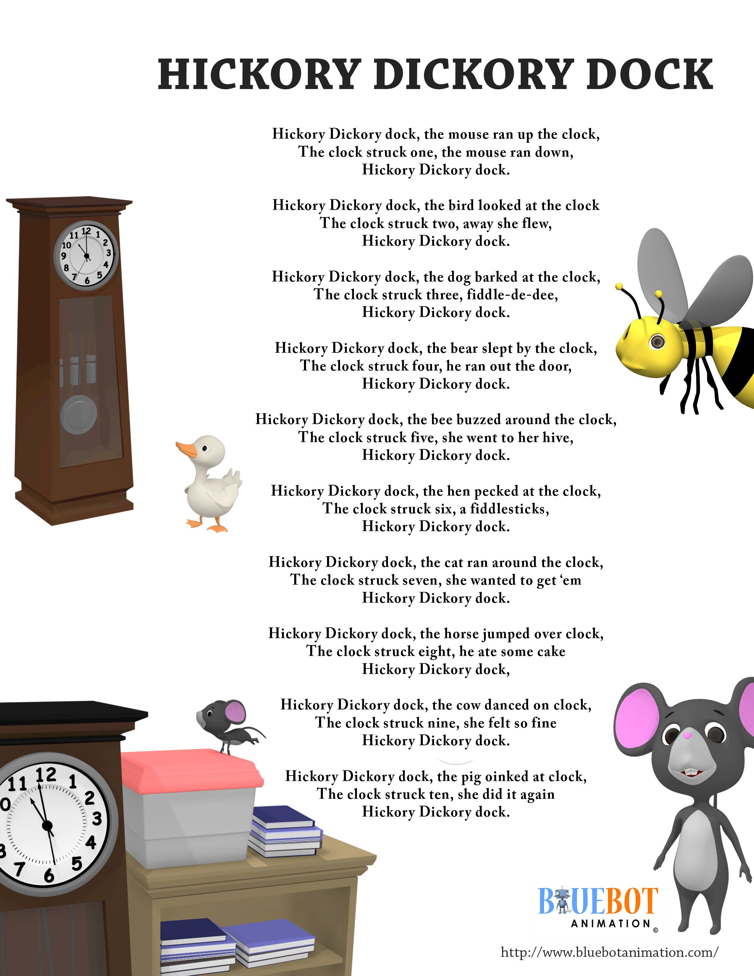 Baby Children Nursery Rhyme Song Hickory Dickory Dock Nursery Rhyme Lyrics Free Printable
