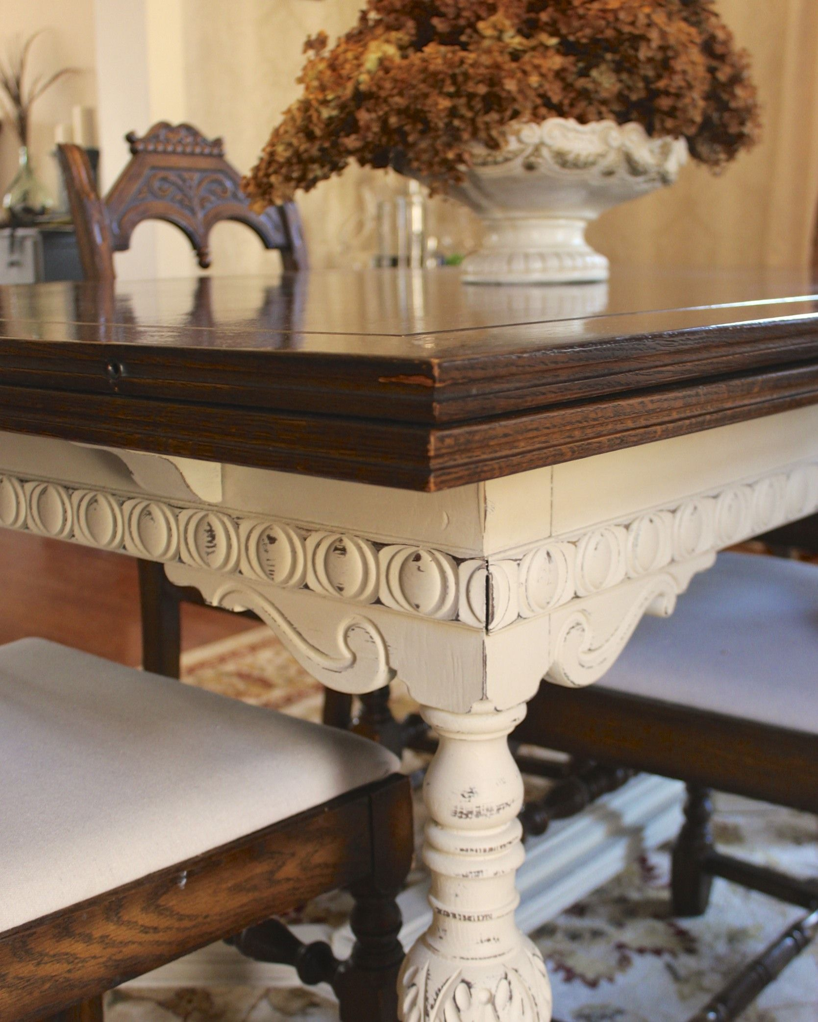 white distressed kitchen table Dining tables