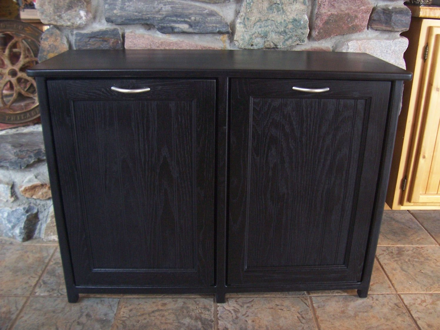 Wooden Kitchen Trash Containers New Black Painted Wood Double Trash Bin Cabinet Garbage
