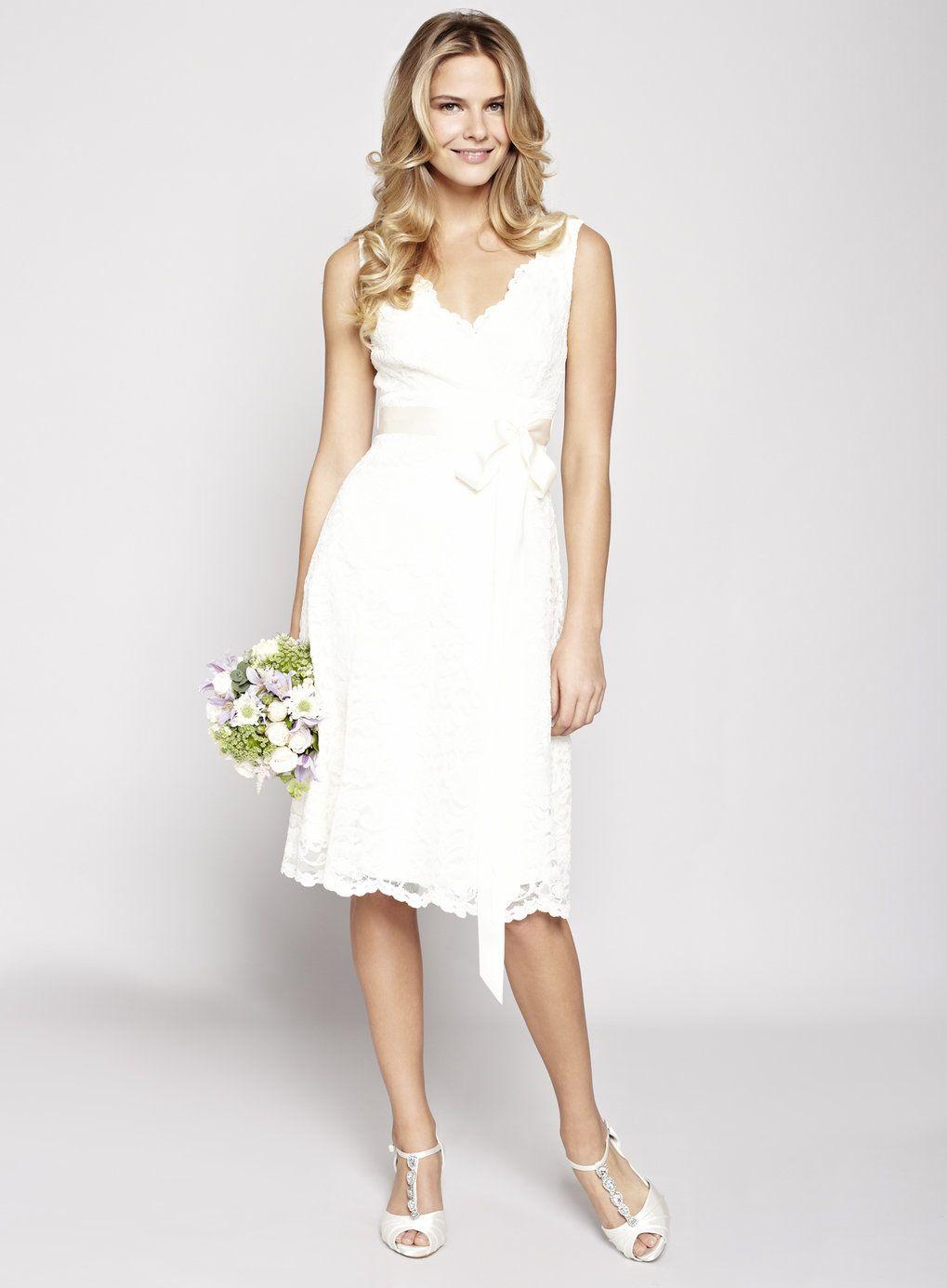 ivory wedding dresses NEW Modern A line Princess Straps Knee Length Wedding Dress with Sash Applique