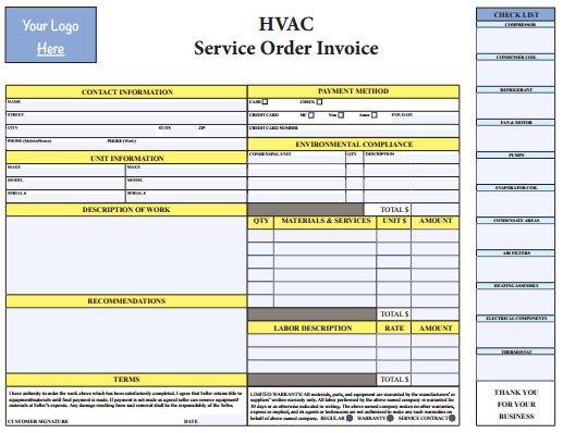 PDF HVAC Invoice Template Free Download HVAC Invoice Templates - hvac invoice templates