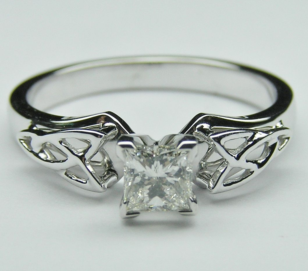 irish wedding ring Princess Diamond Triquetra Celtic Engagement Ring in 14K White Gold