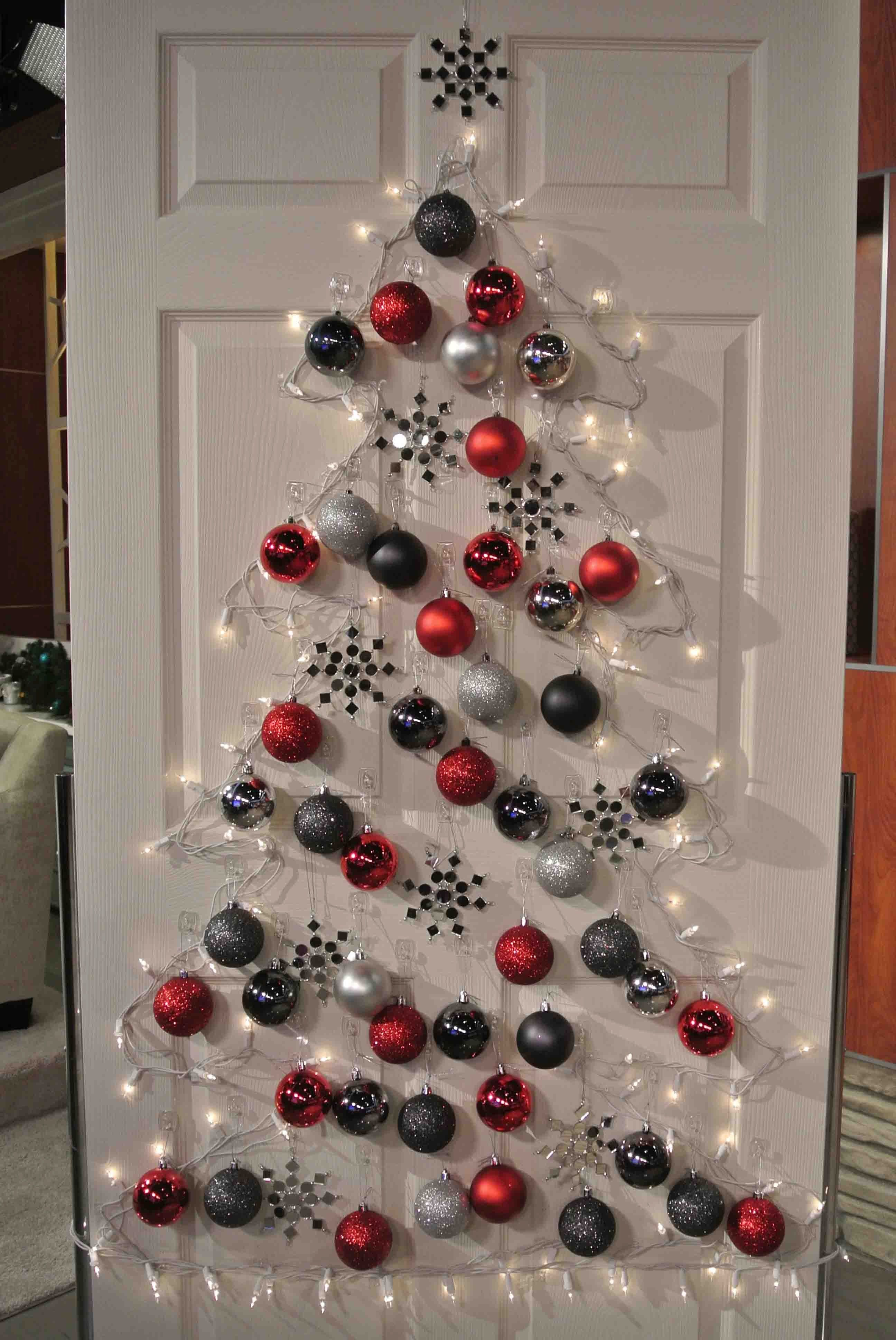 Christmas decoration ideas designed by christmas tree with white lamp and red silver and