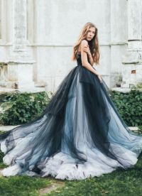 Unique Black, Silver and Grey Tulle Ballgown Wedding Dress ...