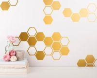 Gold Honeycomb Wall Decals - Hexagon Vinyl Wall Decals ...