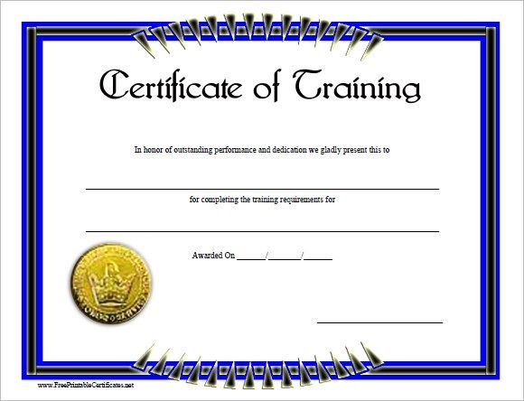 Blank Training Certificate Template , Free Training Certificate - free training certificates