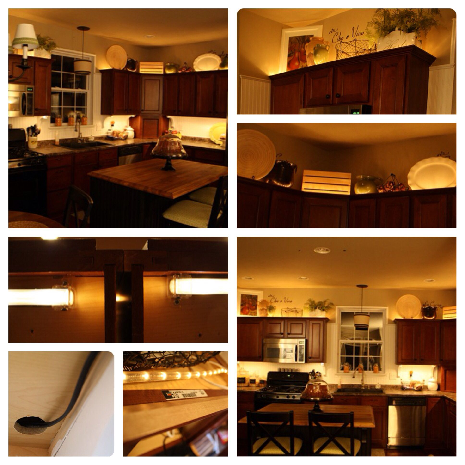 Kitchen Cabinets Under Lighting Adding Lights Above And Below The Cabinets Diy Christmas