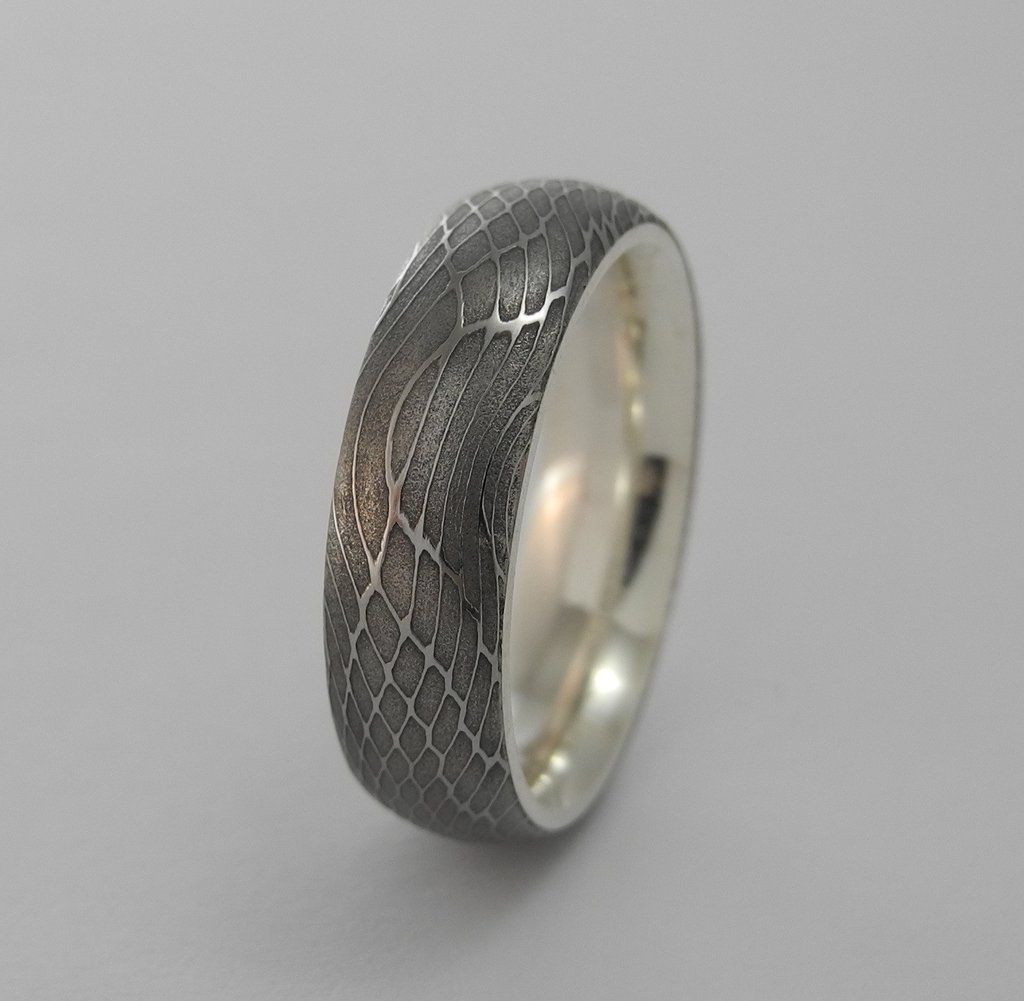 damascus steel wedding bands Spider Silk Stainless Damascus Steel Ring with Silver Interior