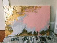 Abstract Gold Foil, Pink, and Silver Painting | New ...