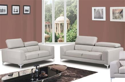 Embry Light Gray Leather Living Room Set Living Room Sets - gray leather living room sets