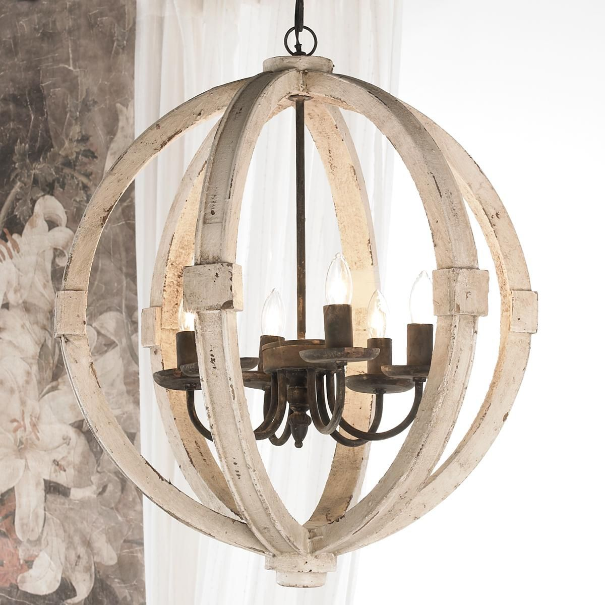 Find this pin and more on lighting white washed wood sphere