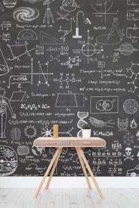 Scientific Chalkboard Effect Wall Mural | Wallpaper ...