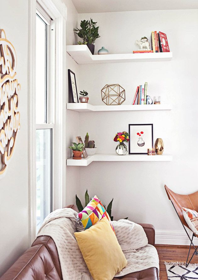 Never waste space again 8 things to do with that empty corner - living room corner shelf