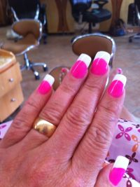 Hot pink nails with white tips | Hot pink nails with white ...