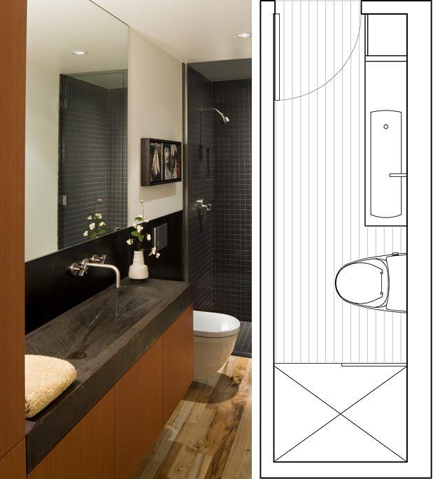 Narrow bathroom layout guest bathroom effective use of space - narrow bathroom ideas