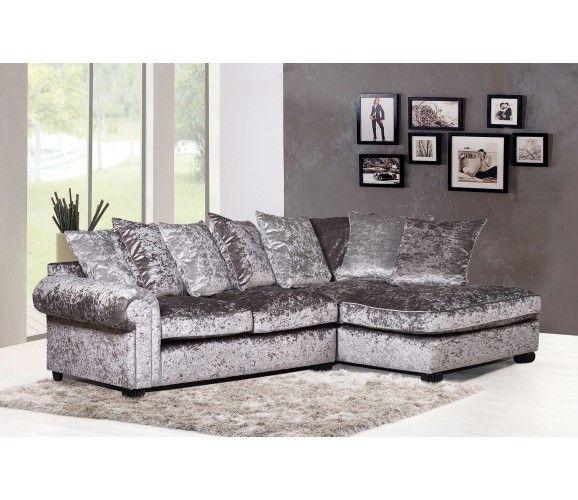 Marilyn Crushed Velvet Corner Sofa - Silver H O M E Pinterest - silver living room furniture