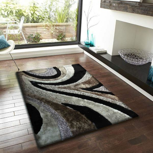Black with Grey Shaggy Area Rug Shaggy, Shag rugs and Vacuums - living room shag rug