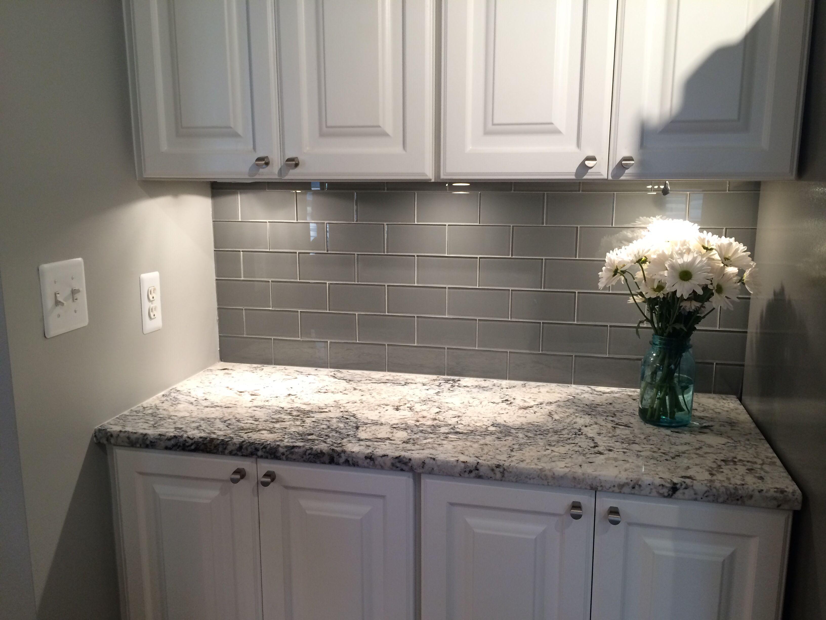 grey backsplash kitchen subway tile backsplash Grey Glass Subway Tile Backsplash And White Cabinet For Small Space