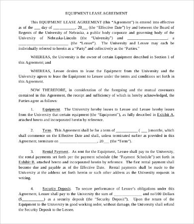 Commercial Equipment Lease Agreement Template , 11+ Simple - equipment lease agreement template