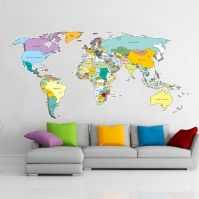 Colorful world map wall sticker // Vinyl Impressions ...