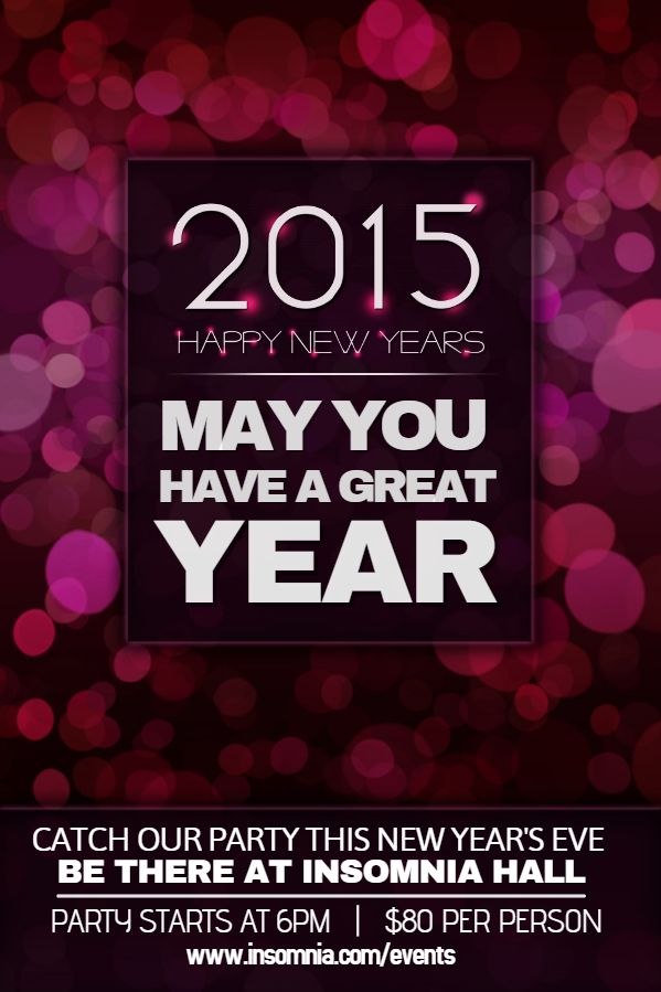 New Year Party Poster Template - Purple New Year Flyer Templates - new year poster template