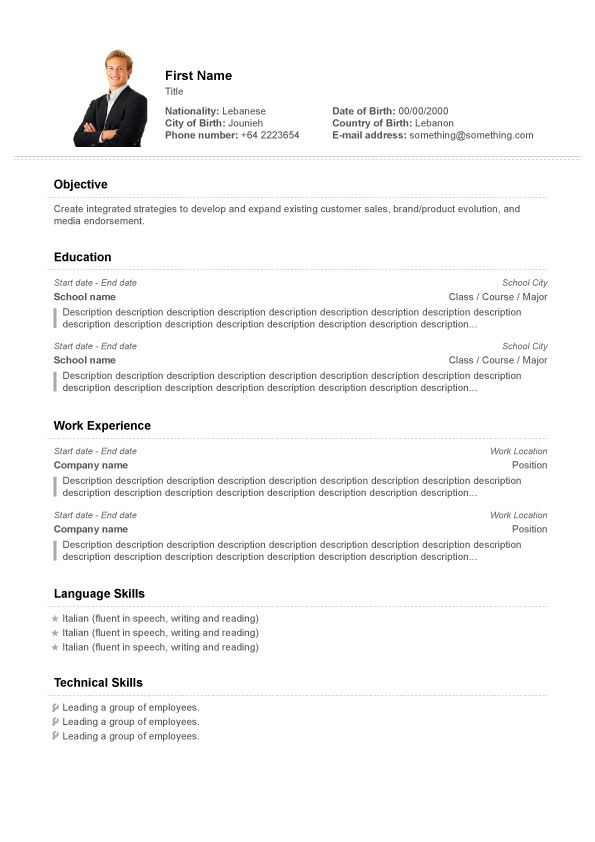 Free CV Builder, Free Resume Builder, cv templates School - resume templates with photo