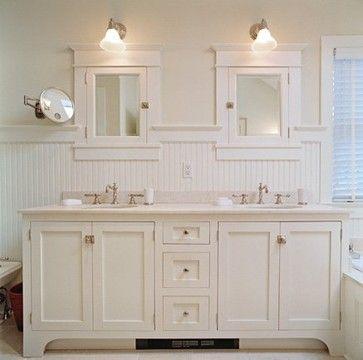 beadboard bathroom, white bathroom, double vanity, cottage style - beadboard bathroom ideas