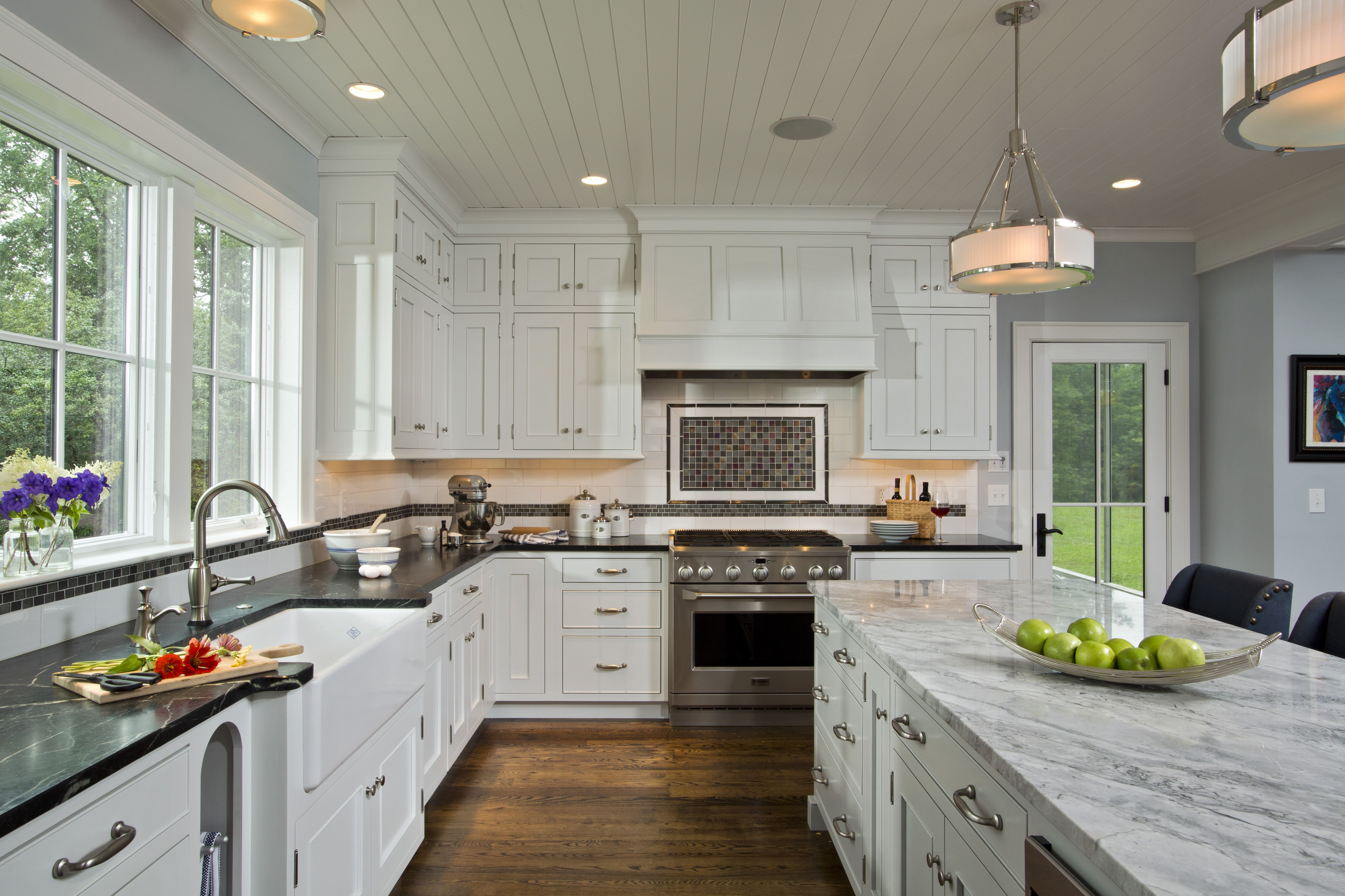 White Beadboard Kitchen Cabinets Inset Custom Cabinets Bead Board Ceiling And A Granite