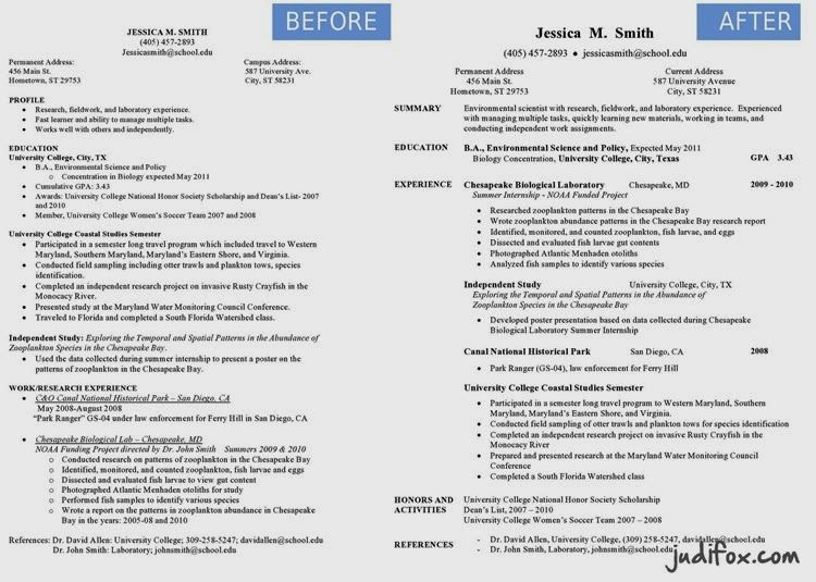Before and After Resume Remodel Tips and visual inspiration for - environmental scientist resume