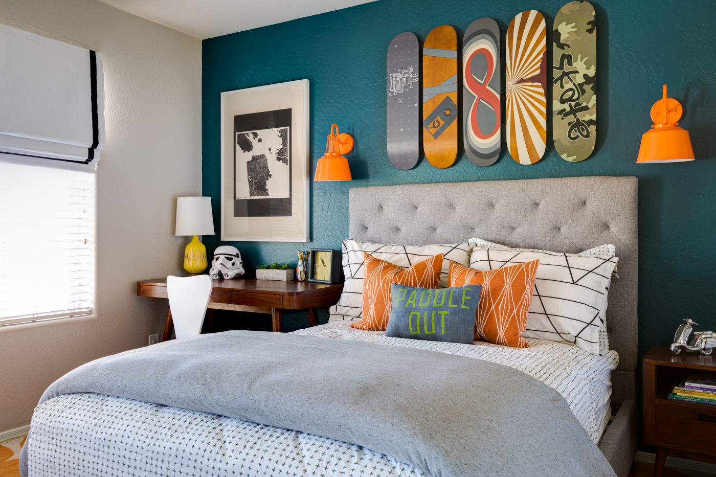 Ideas For Boys Bedrooms Project Nursery Teal And Orange Skateboarding Bedroom