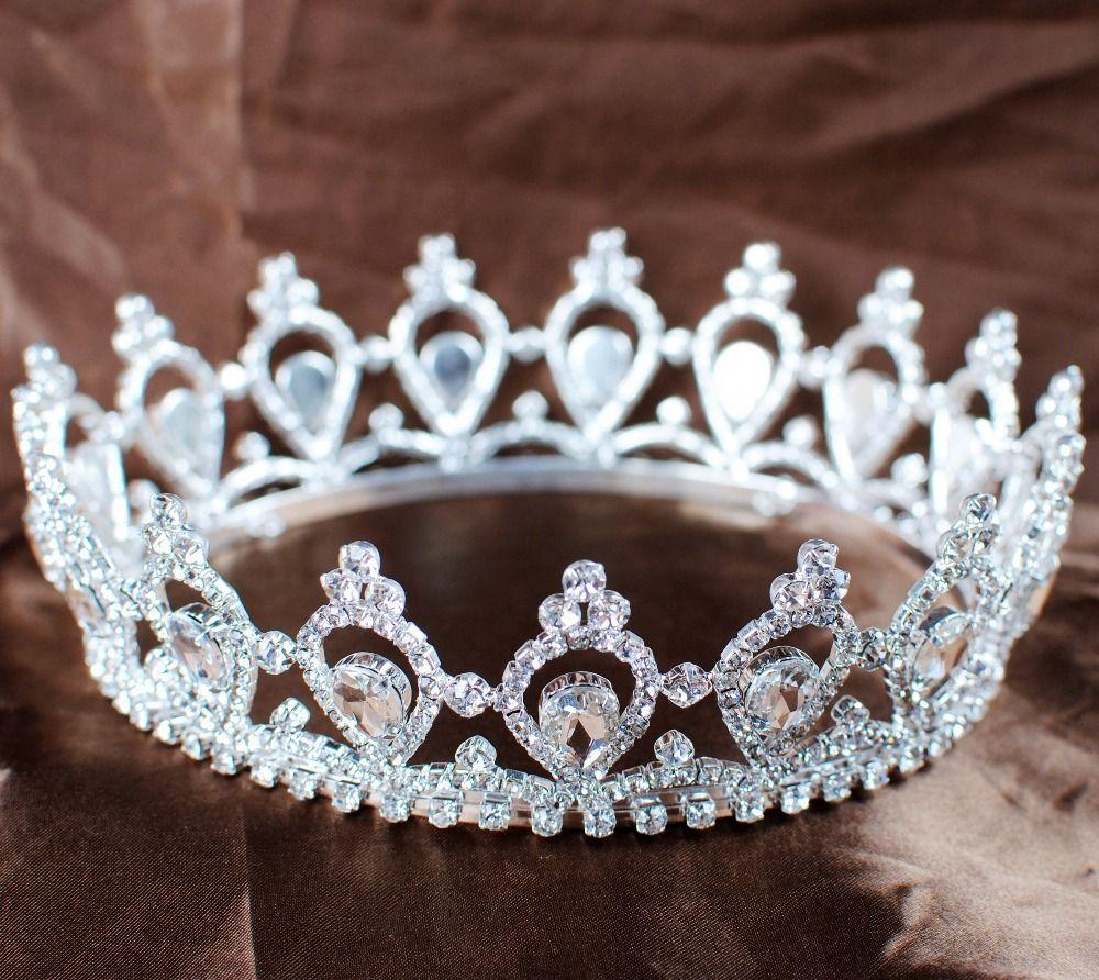 Luxurious rhinestone bridal wedding tiara full circle round crown headwear pageant party queen princess beauty crown