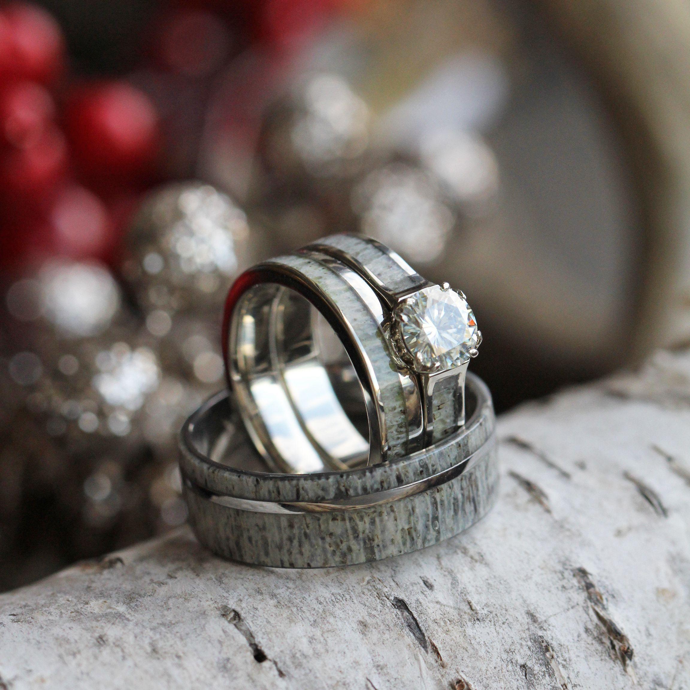 antler wedding ring Deer Antler Wedding Ring Set With Moissanite Bridal Set And Men s Band
