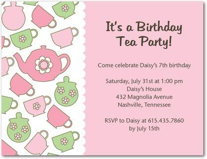 tea party printable invitation teapot - Google Search Party - tea party invitation template