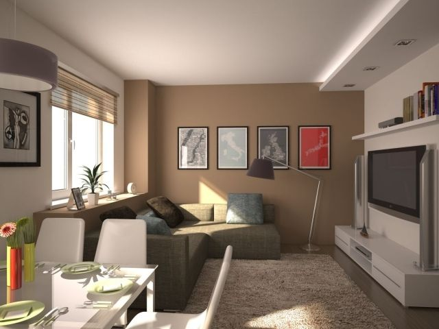 kleines wohnzimmer mit essbereich modern einrichten beige weiß - wohnzimmer esszimmer ideen