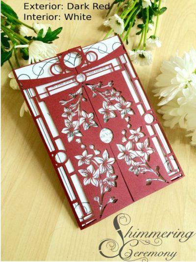 Japanese wedding gatefold invitation with by ...
