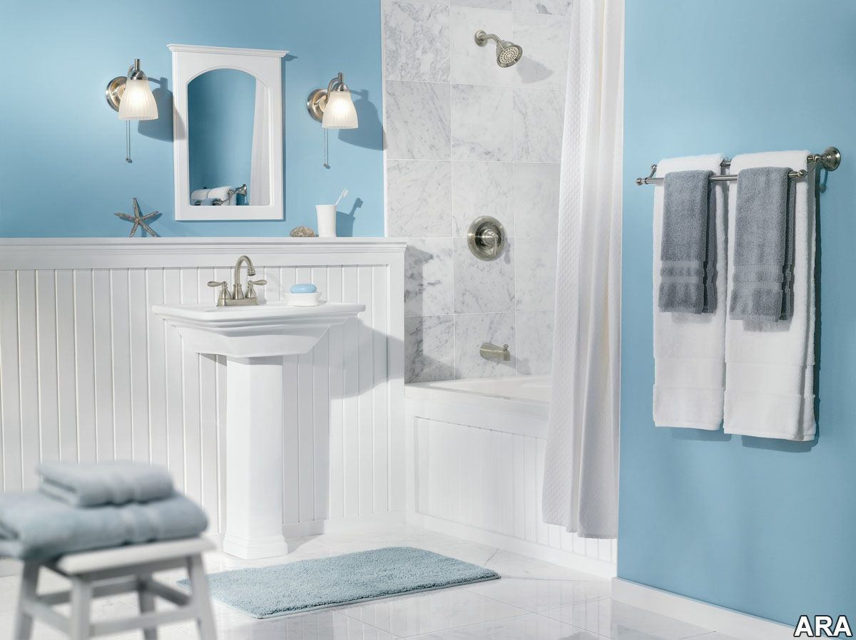 Bathroom comfortable bathroom design light blue wall color ideas with white marble and furniture accent