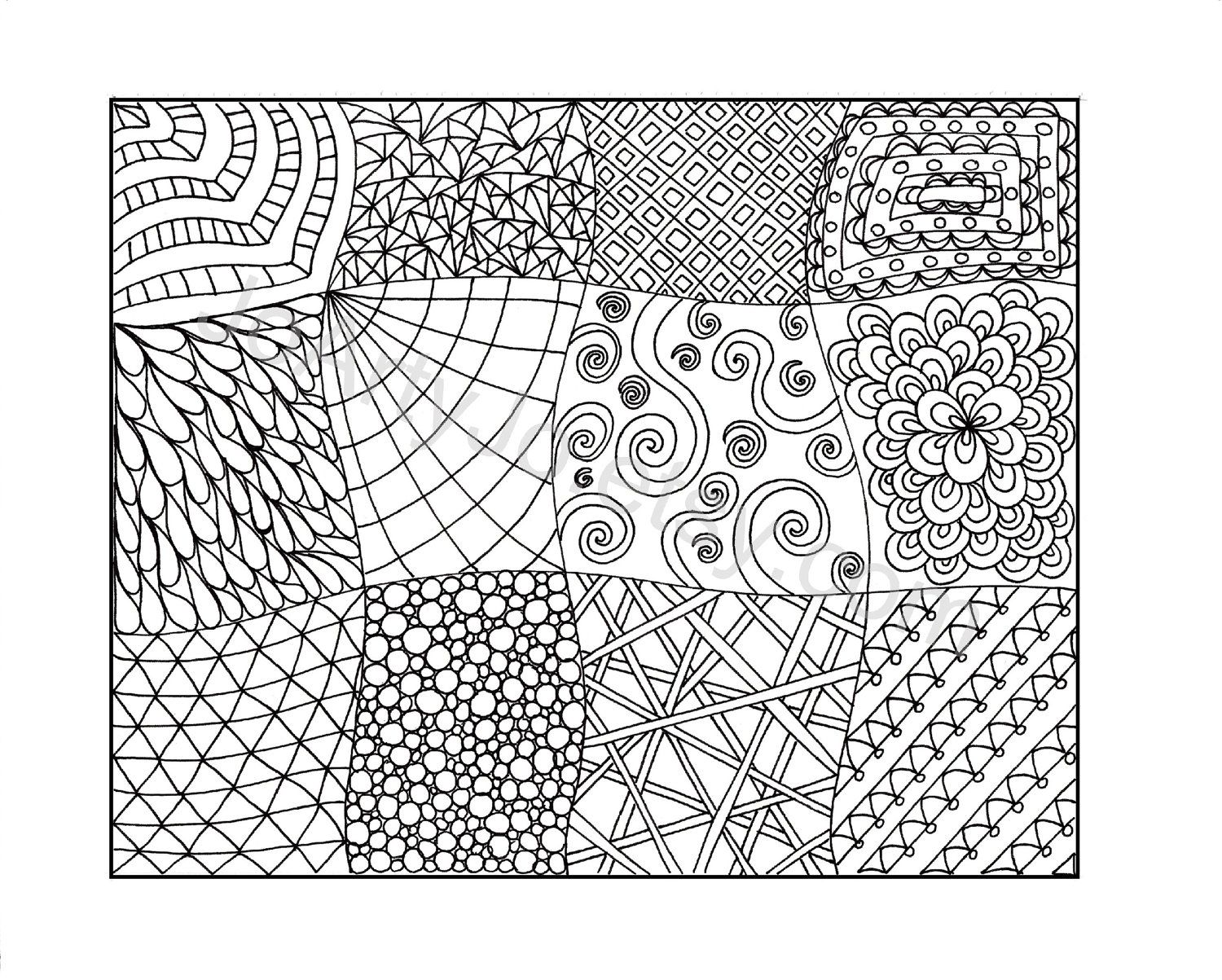 Zendoodle coloring page printable pdf zentangle inspired page 11