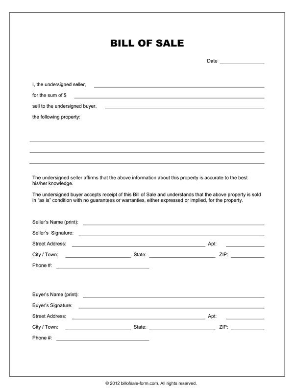 blank-bill-of-sale-formjpg - bill of sale forms Legal Documents - indemnity form template