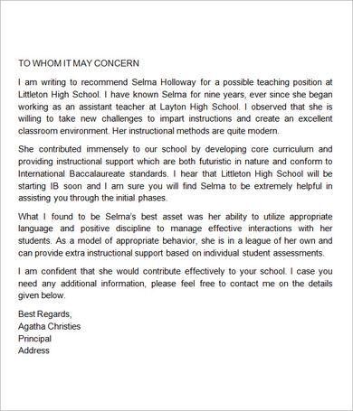 Sample Letter of Recommendation for Teacher - 18+ Documents in - teacher letter of recommendation