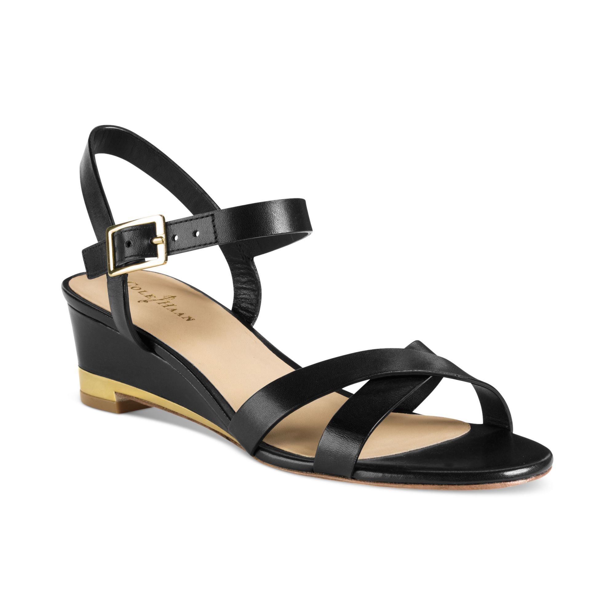 Cole haan black melrose low wedge sandals product