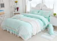 Princess Style Lace Edging Mint Green Cotton 4-Piece ...