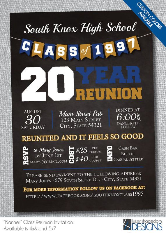 Chalkboard Class Reunion Invitation with by LukensHagedornDesign - class reunion invitation template