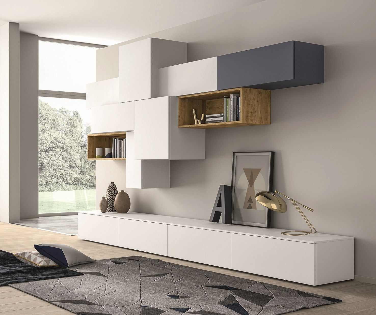 Slim Tv Unit Sectional Lacquered Storage Wall Slim 88 Slim Collection
