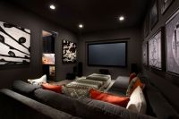 Excellent Small Media Room Ideas Using Grey Fabric Sofa
