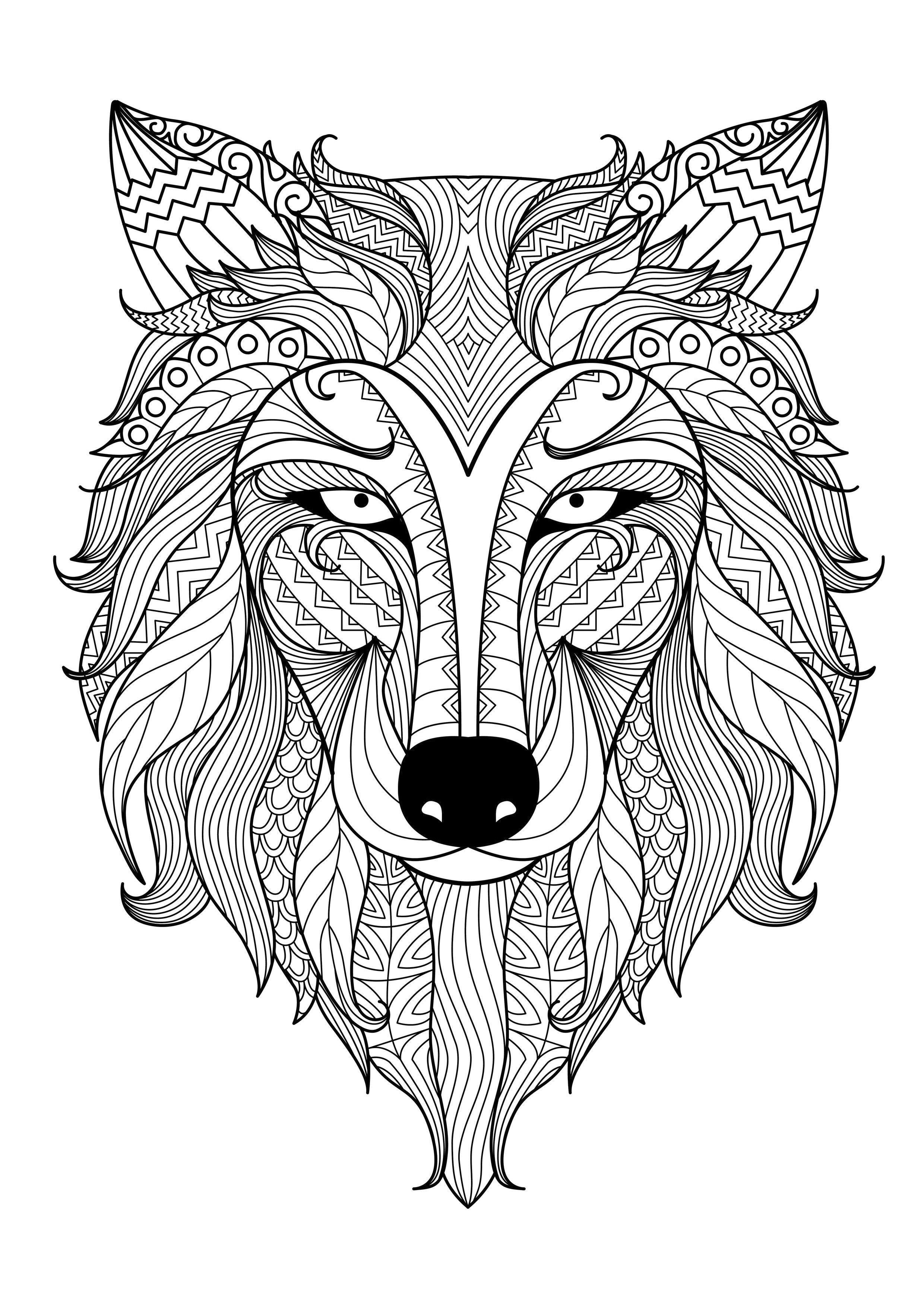Incredible adult coloring page of a wolf from the gallery animals artist